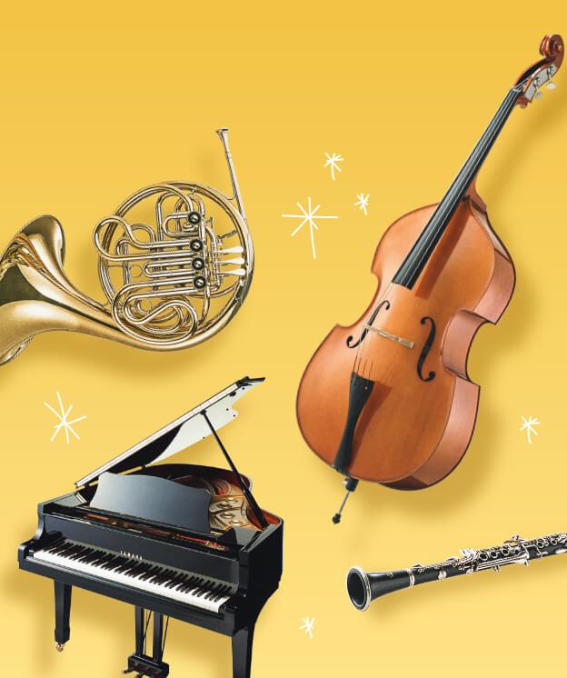 ホルン、バイオリン、グランドピアノ、クラリネット